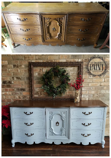 Before and After : 9 Drawer Bassett French Provincial Dresser in Louis Blue