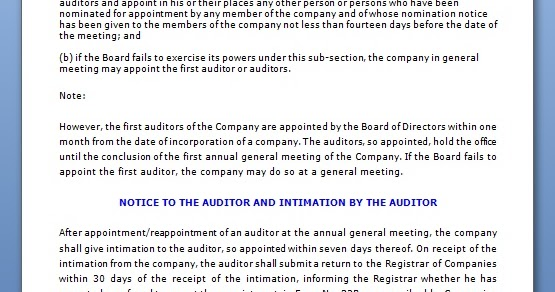 first auditor appointment board resolution format in word