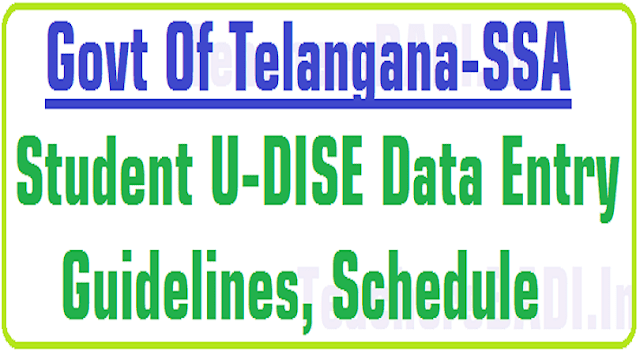 Student U-DISE Data Entry Guidelines,Schedule for 2016-17 in Telangana