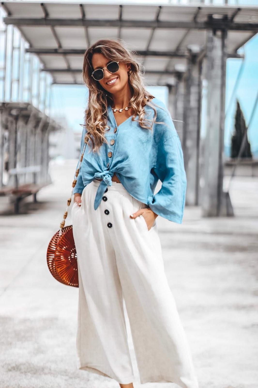 blusa de lino anudada