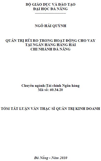 Quản trị rủi ro trong hoạt động cho vay tại Ngân hàng Hàng Hải chi nhánh Đà Nẵng