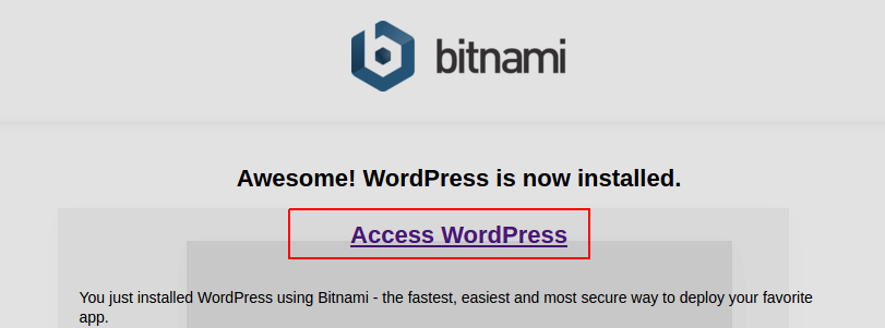 access wordpress on bitnami