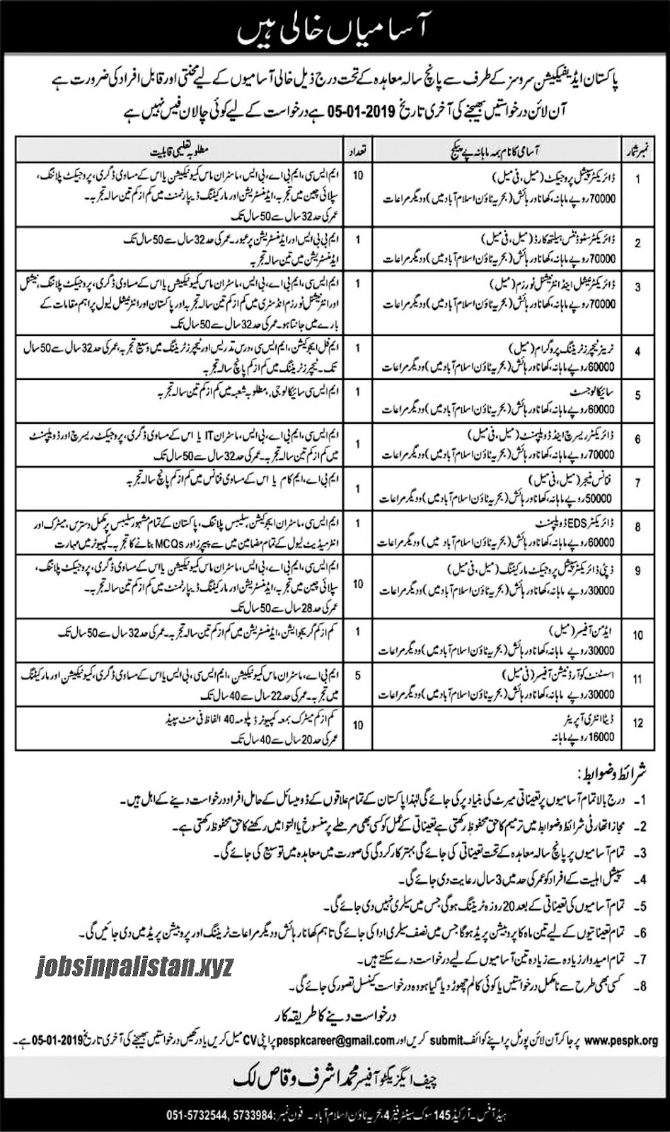 Advertisement for Pakistan Edification Services Jobs