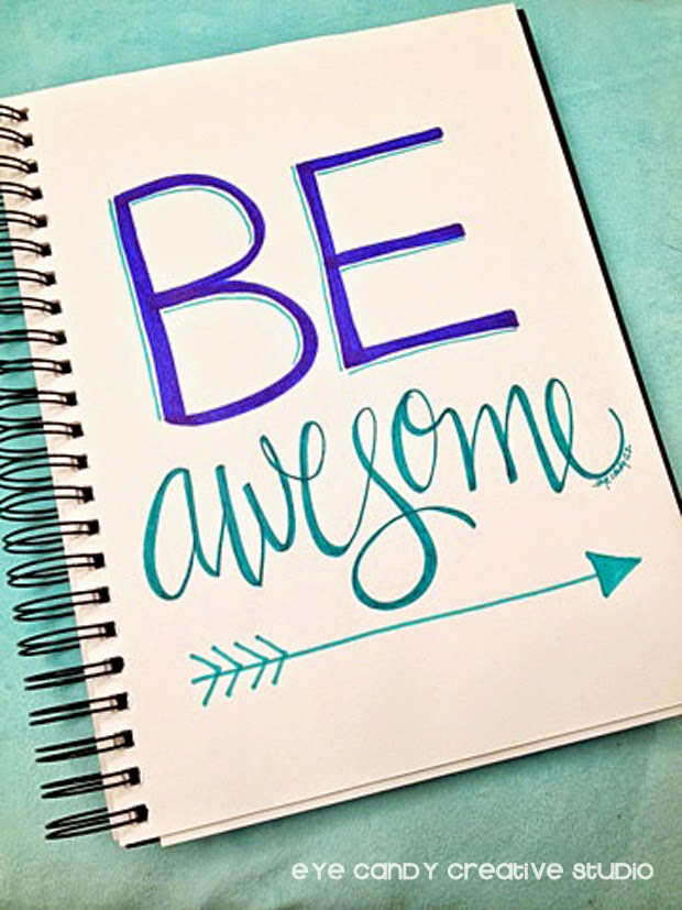 hand lettering, art prints, be awesome, kids prints, inspirational prints