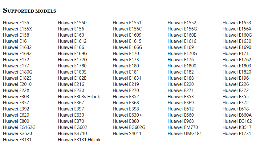 huawei unlock supported models