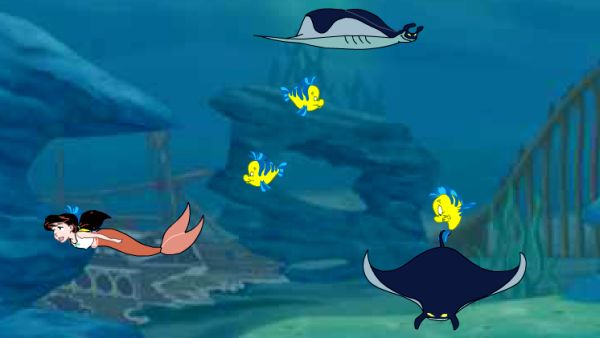 Play Little Mermaid game where Morgana's minions want to capture baby Flounder and the Little Mermaid need to help her before time runs out