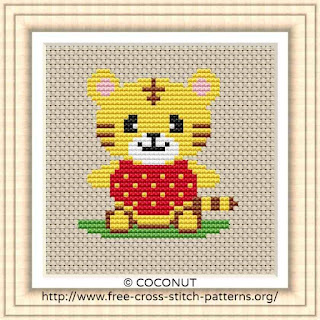 BABY TIGER, FREE AND EASY PRINTABLE CROSS STITCH PATTERN