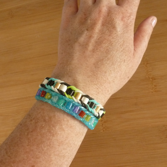 Beaded Rainbow Loom rubber band bracelet designs using beads and bands