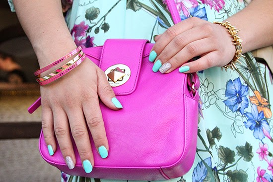Kate Spade Pink Cross Body and Mint Nails