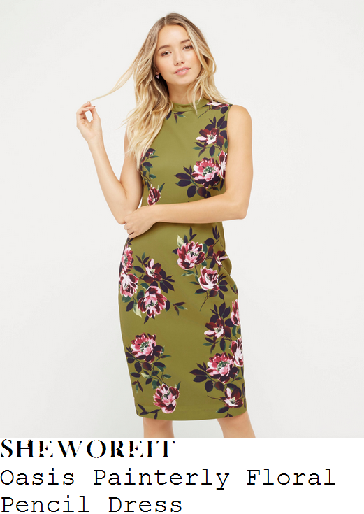 charlotte-hawkins-oasis-khaki-green-purple-pink-white-and-black-placement-painterly-floral-print-sleeveless-high-neck-tailored-pencil-dress
