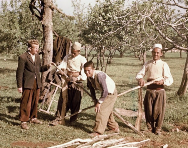 Carpenters near Pogradec in 1957 by Fiedler