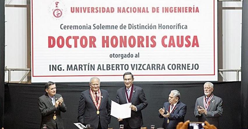 Presidente Martín Vizcarra recibe doctorado honoris causa de la Universidad Nacional de Ingeniería - UNI
