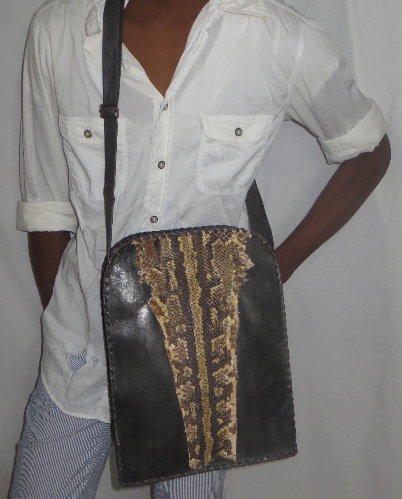 Malik Snake Skin Messenger Bag