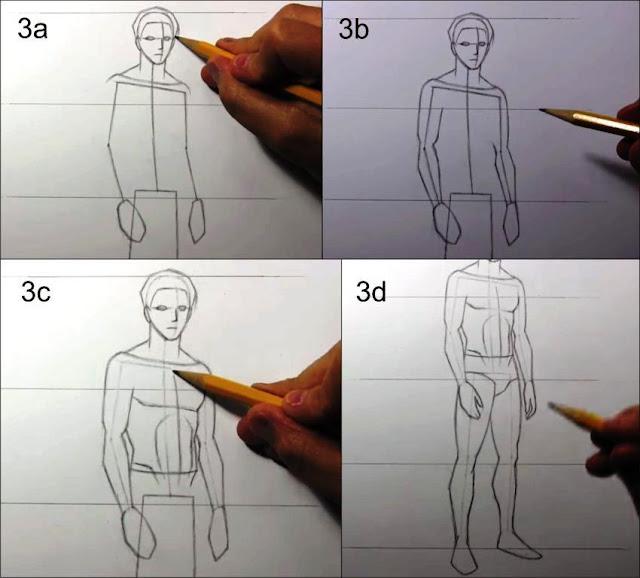 cara menggambar manusia tahap 3