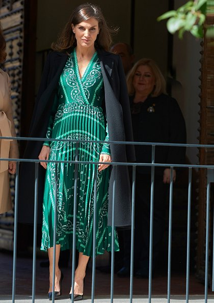 Queen Letizia wore Sandro iconic scarf-print dress, Prada pumps and Carolina Herrera coat for Inauguration of Real Monasterio de la Encarnacion