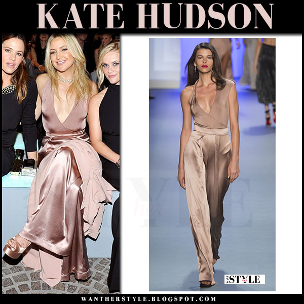 Kate Hudson in blush silk trousers and blunging bodysuit cushnie et ochs what she wore
