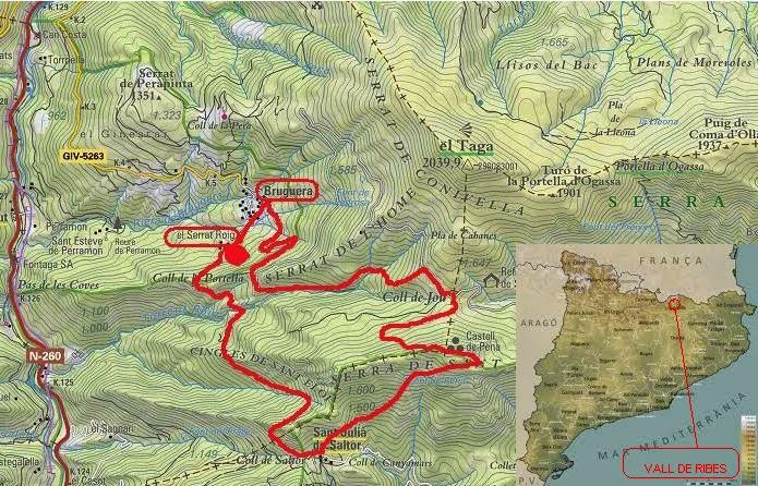 Mapa de la Vall de Ribes Bruguera Sant Amand Ripolles