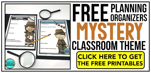 DETECTIVE Theme Classroom: If you're an elementary teacher who is thinking about a detective or mystery theme then this classroom decor blog post is for you. It'll make decorating for back to school fun and easy. It's full of photos, tips, ideas, and free printables to plan and organize how you will set up your classroom and decorate your bulletin boards for the first day of school and beyond.