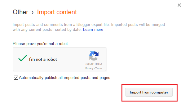 import blogger post pages comments from your computer
