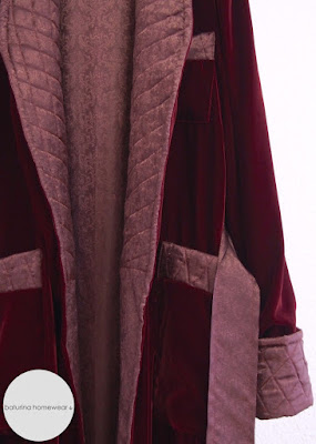 Men's Long Burgundy Silk Velvet Dressing Gown with Quilted Collar and Cuffs.