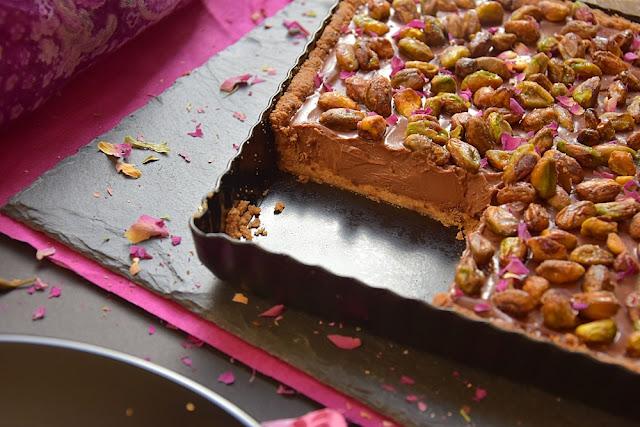 tarte chocolat rose pistaches