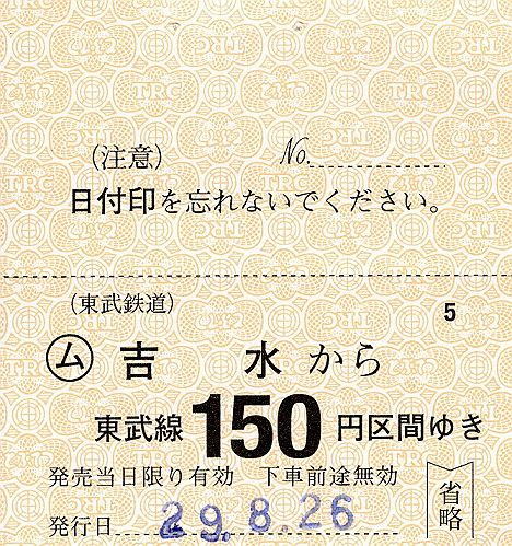 【1000円分の高額券も!】東武佐野線 吉水駅の常備軟券乗車券(2017年)