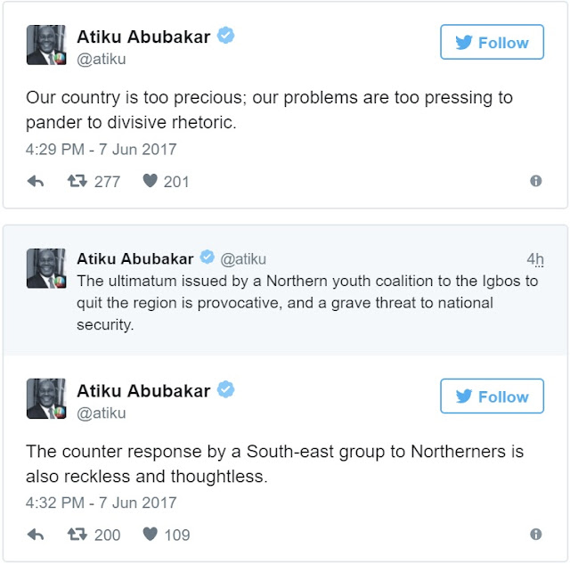 Read Atiku's powerful response to northern youths that gave Igbos quit notice