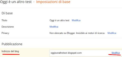 Come cambiare l'indirizzo di un sito su blogger