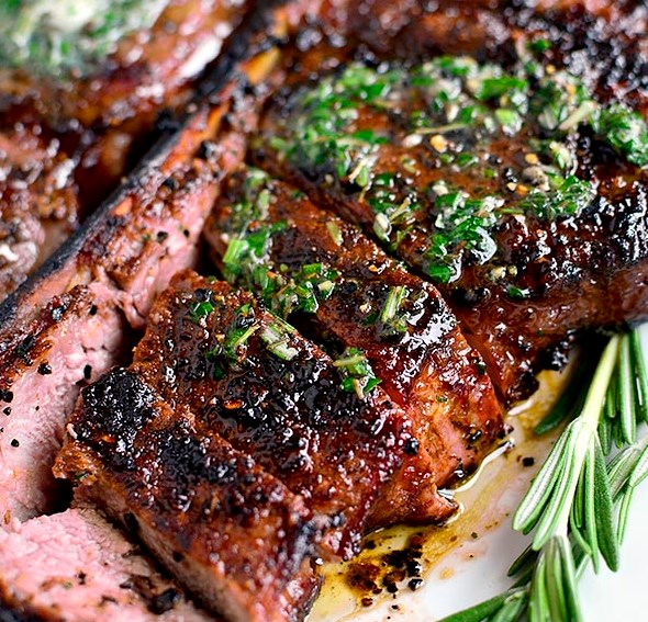 Perfect Grilled Steak with Herb Butter #paleo #glutenfree