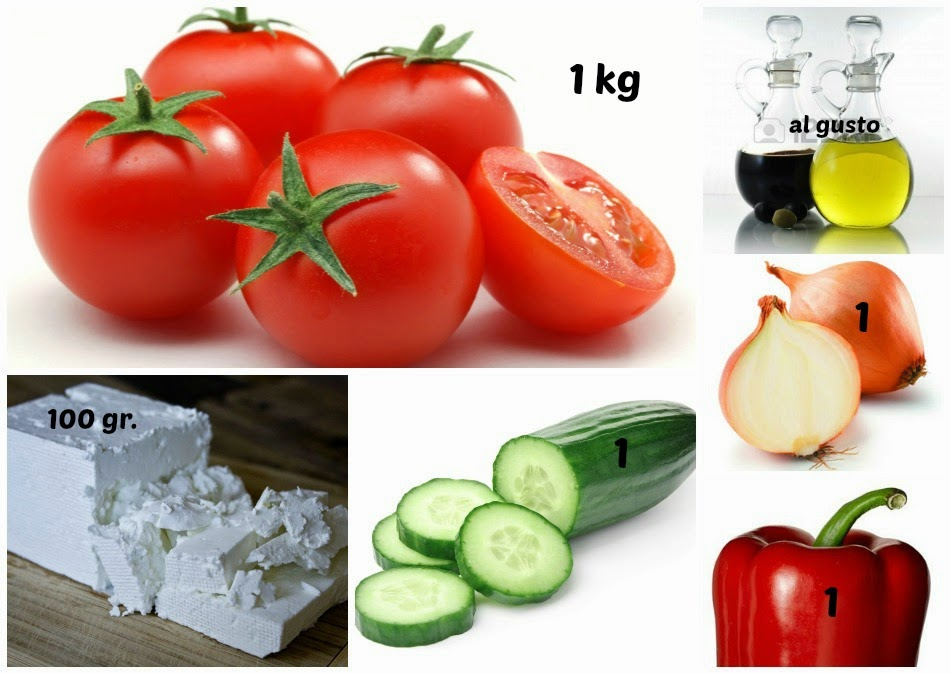 Ingredientes ensalada shopska Bulgaria