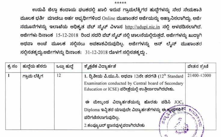Udupi VA Recruitment 2018, Apply for 12 Post, Last Date December 31
