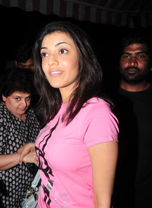 Tollywood Actress Kajal Agarwal Hot Photos In Event Pink Top White Jeans