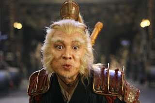 Jet Li, portraying the Monkey King, stares wide-eyed at the reader.