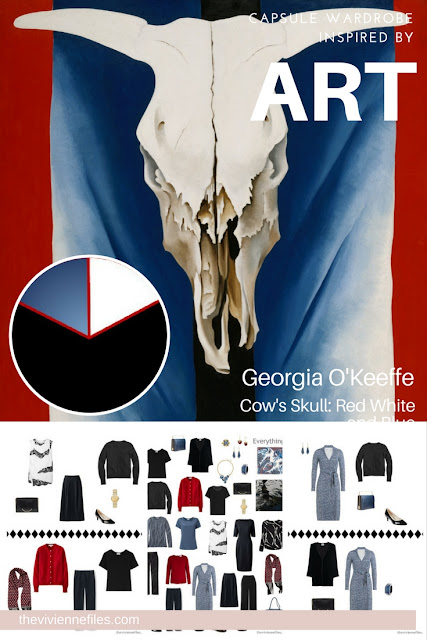 Capsule wardrobe in a black, white, red, and blue color palette, inspired by art: Cow's Skull: Red White and Blue by Georgia O'Keeffe