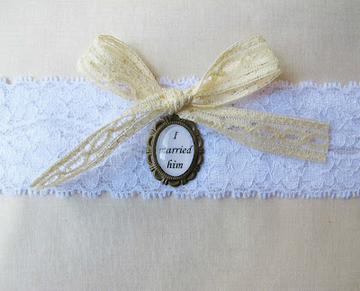 image bridal garter thigh jane eyre i married him charlotte bronte lace cameo bow two cheeky monkeys wedding accessories and clothing