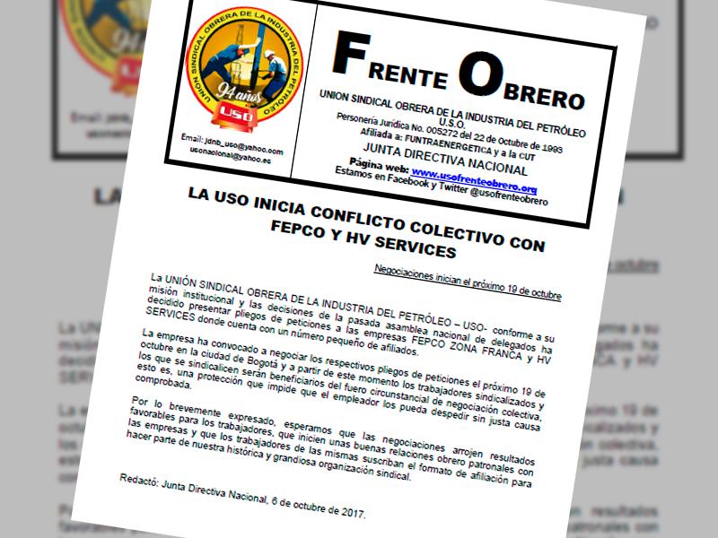 LA USO INICIA CONFLICTO COLECTIVO CON FEPCO Y HV SERVICES