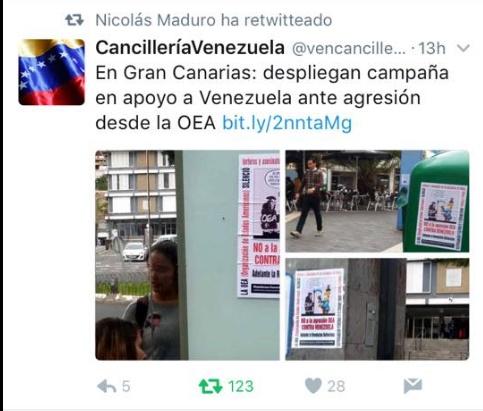 ¿Gran Canaria apoyo  a Maduro?