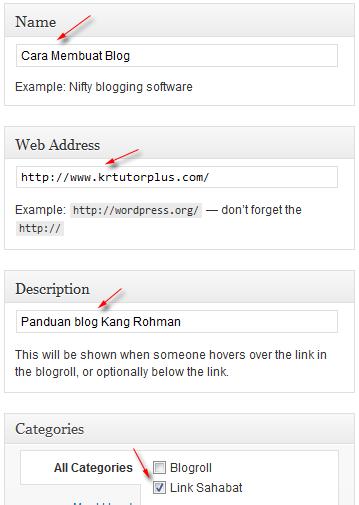 membuat link wordpress