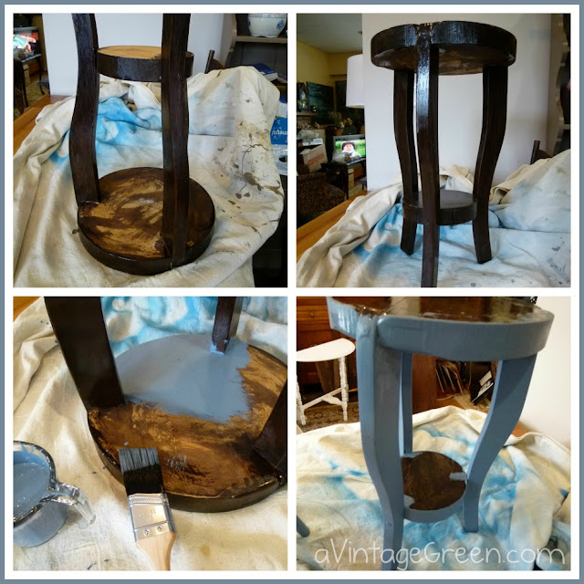 A Vintage Green Home Made Chalk Paint Wooden Plant Stand