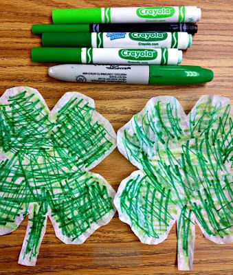 St. Patrick's Day Coffee Filter Shamrocks craft