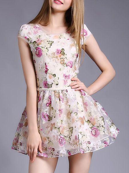 Apricot Short Sleeve Organza Mini Dress
