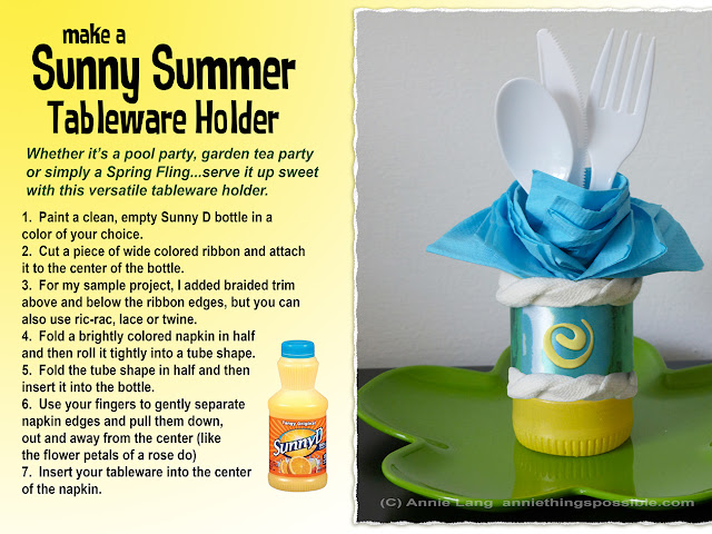 Annie Lang shares a DIY Summer themed tableware holder project made from a Sunny D Bottle
