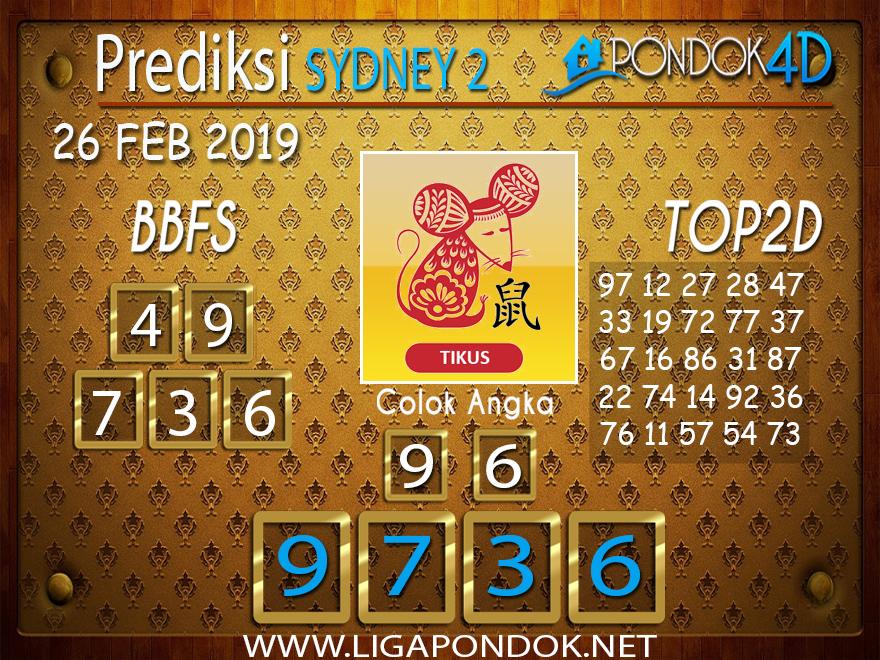 Prediksi Togel SYDNEY2 PONDOK4D 26 FEBRUARI 2019