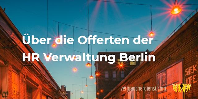 """Titel: Über die Offerten der """"HR Verwaltung Berlin"""""""