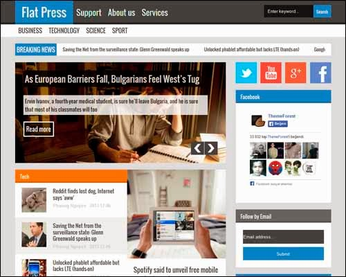 Flat Press Blogger Responsive Template