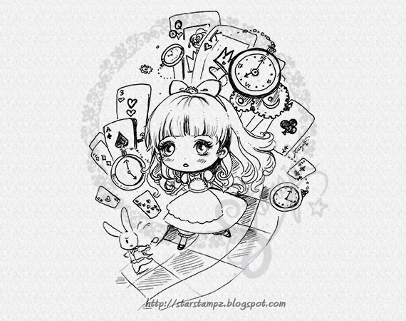 I waited so i could finish and add special chibi versions for alice and the mad hatter they were both really fun to draw