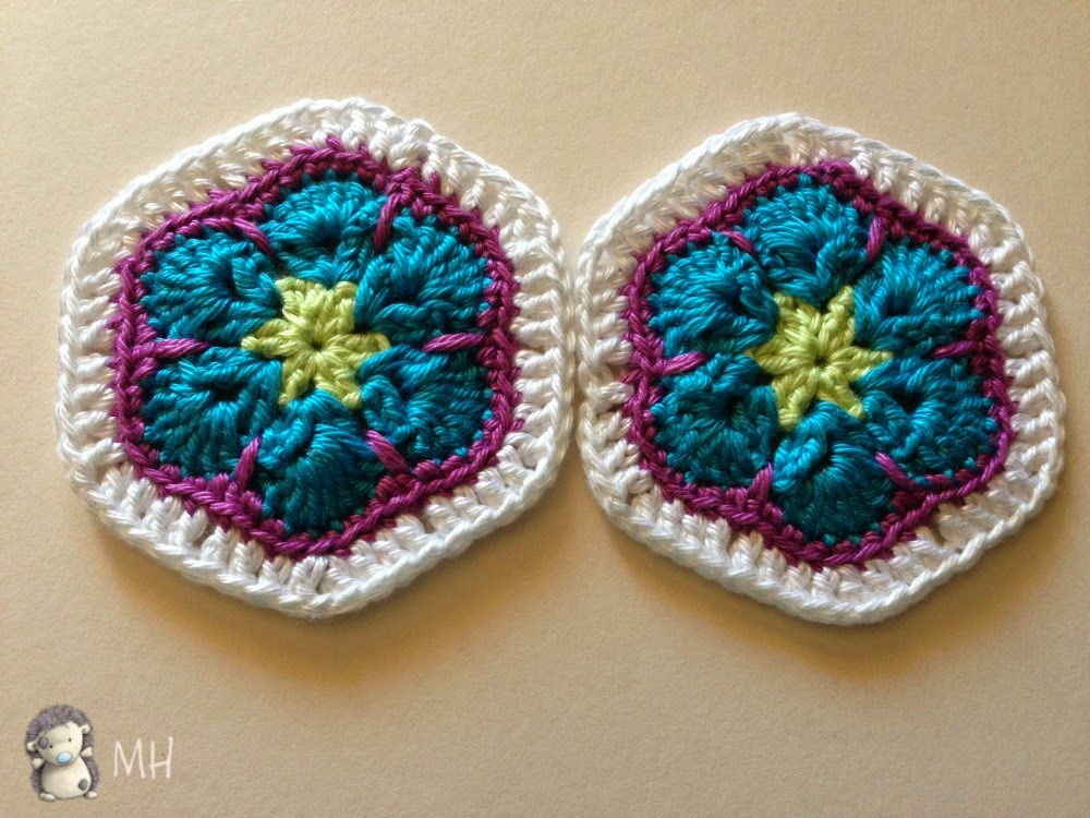 Hexágonos flores africanas a crochet