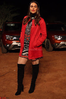 Neha Dhupia in Lulu and sky dress and Zara jacket and Stuartz wietzmen boots(2) ~ .jpeg