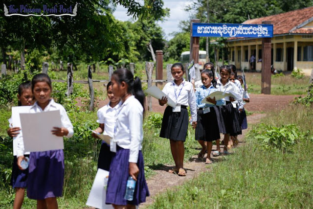 Students leave a Preah Vihear primary school after class late last year. Hong Menea