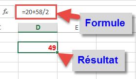 Formule Excel simple